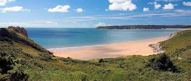 The Gower Coast, just over 50 miles W of Cardiff, comprises 70 sq. miles of beaches