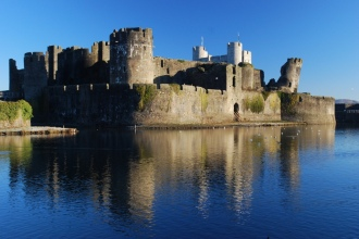 Caerphilly Castle, one of many castles in S Wales, 7 miles N of Cardiff