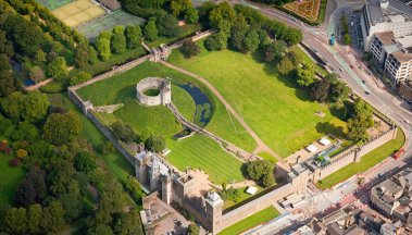 An aerial view of Cardiff Castle
